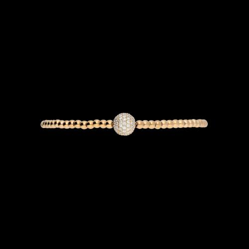 Bracciale sfere semirigido in oro rosa e diamanti bianchi