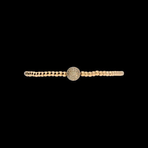 Bracciale sfere semirigido in oro rosa con diamanti brown
