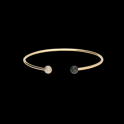Bracciale bangle in oro rosa con diamanti bianchi e diamanti neri