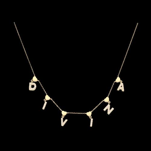 DIVINA - Collana in oro rosa con cuori e diamanti bianchi
