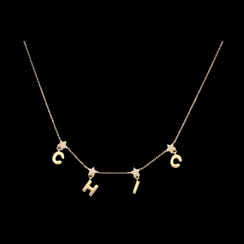 CHIC - Collana girocollo in oro rosa con lettere pendenti e stelline con diamanti bianchi