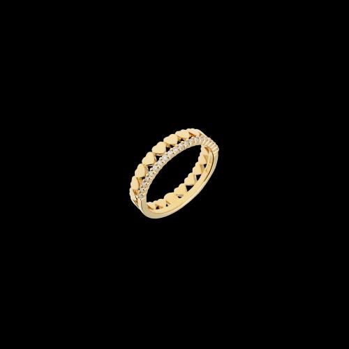 Anello cuori oro rosa con diamanti bianchi
