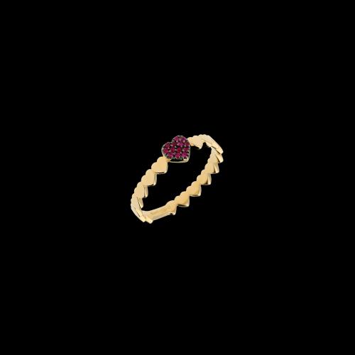 Anello cuori in oro rosa con rubini