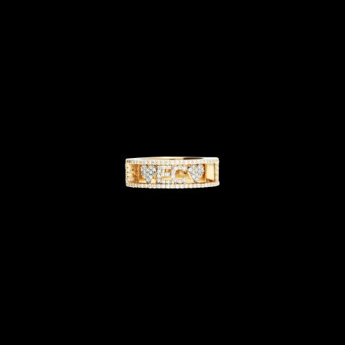 Anello in oro rosa con lettere e cuori semovibili in oro bianco e diamanti bianchi