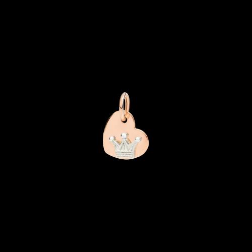 DODO VALENTINE'S  - CUORE  -  ciondolo in oro rosa 9 kt e corona in oro bianco 9 kt - DMCUORG/9/CO9/K