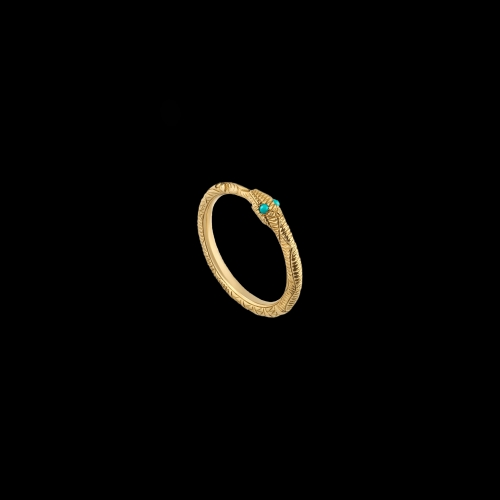 ANELLO GUCCI CON OUROBOROS IN ORO GIALLO E TURCHESI - YBC5265750010