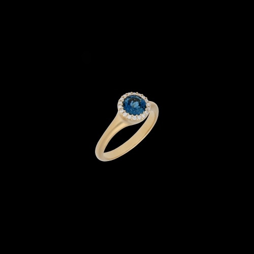 ANELLO IN ORO ROSA SATINATO CON TOPAZIO BLU LONDON E DIAMANTI BIANCHI