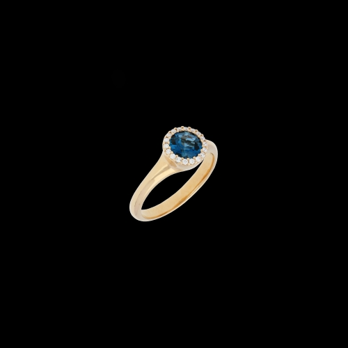 ANELLO IN ORO ROSA TOPAZIO BLU LONDON E DIAMANTI BIANCHI
