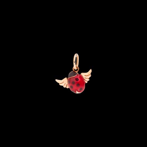 Dodo Coccinella con Ali in oro rosa e smalto rosso - DMEVO-COC-9-K