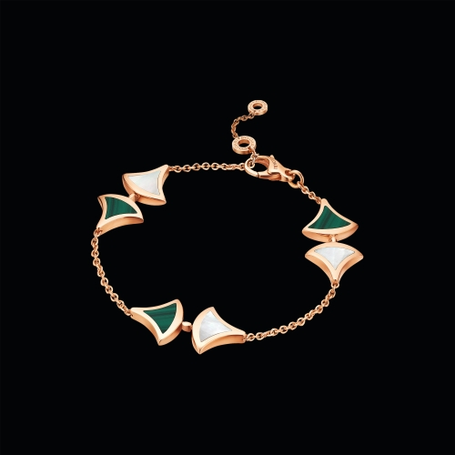 BRACCIALE DIVAS' DREAM IN ORO ROSA 18 KT CON MALACHITE E MADREPERLA