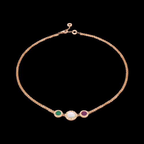COLLANA BVLGARI BVLGARI IN ORO ROSA CON MALACHITE, MADREPERLA E SUGILITE