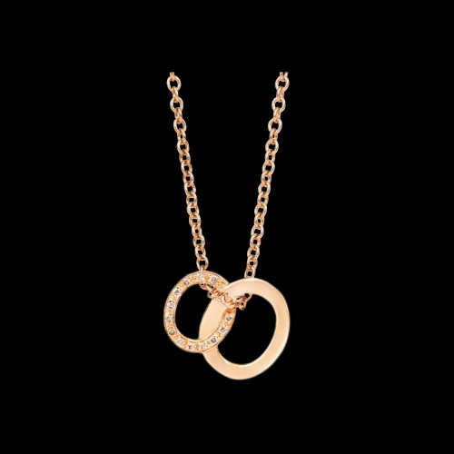 POMELLATO - COLLANA BRERA IN ORO ROSA 18 KT CON PENDENTE IN ORO ROSA E DIAMANTI BROWN - F.B910/BRO7/44