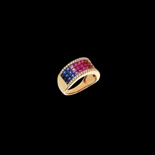 ANELLO IN ORO ROSA CON ZAFFIRI MULTICOLOR E DIAMANTI BIANCHI