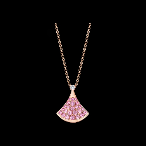 COLLANA DIVAS' DREAM IN ORO ROSA 18 CARATI CON ZAFFIRI ROSA E DIAMANTI