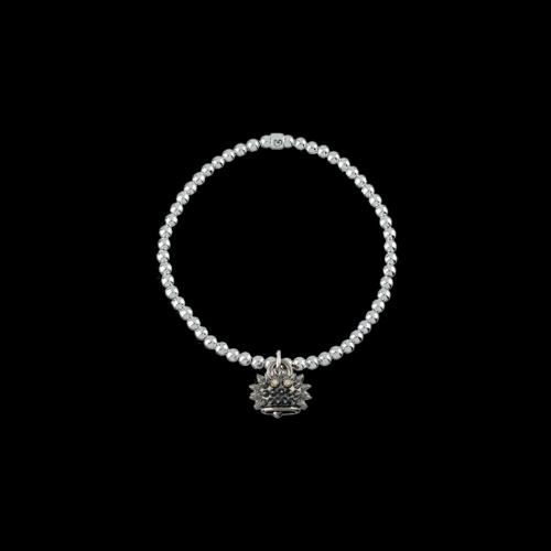 Bracciale elastico Campanelle in argento brunito e diamanti brown - 39022