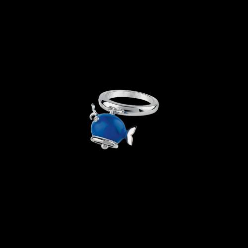Anello Campanelle Balena in argento e smalto blu con diamante taglio brillante - 39016