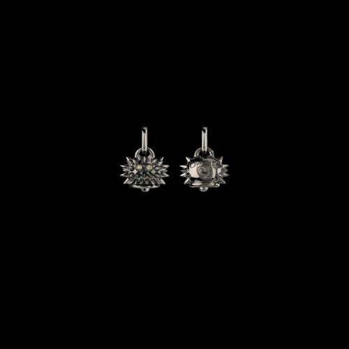 Ciondolo Campanelle Riccio in argento brunito e diamanti brown taglio brillante - 38242