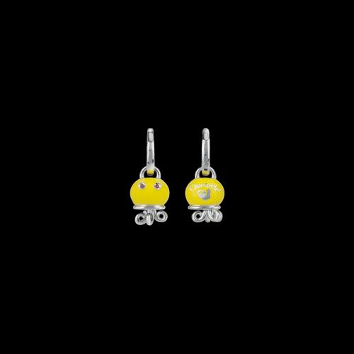 Orecchino singolo Campanelle in argento, smalto giallo e zaffiri arancioni - 38467