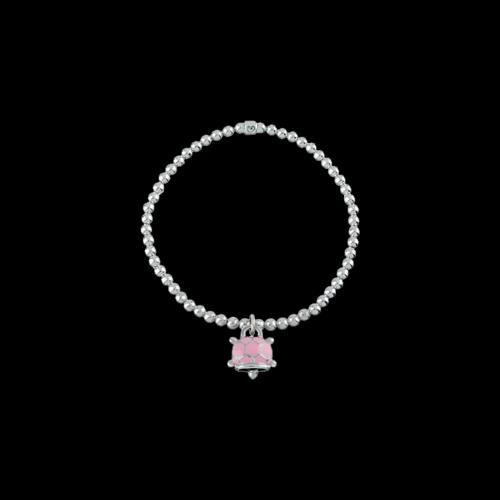 Bracciale elastico Campanelle in argento e smalto rosa e diamante bianco - 39018