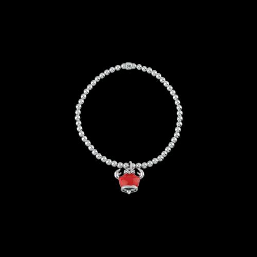 Bracciale elastico Campanelle in argento, smalto rosso e diamante bianco - 39019