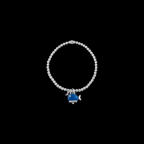 Bracciale Campanelle elastico in argento e charms Balena con smalto blu - 39020