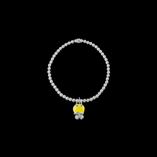 Bracciale Campanelle Elastico Polipo in argento, smalto giallo e zaffiri arancioni - 39021
