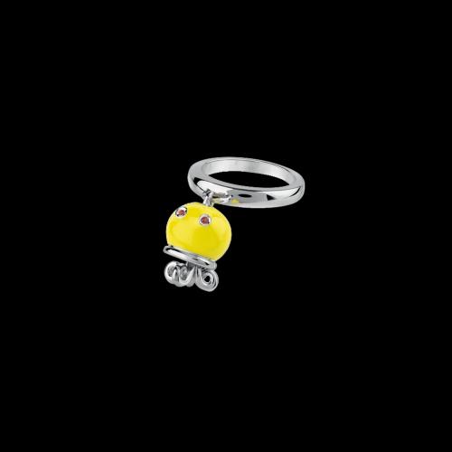Anello Campanelle Polipo in argento, smalto giallo e zaffiri arancioni - 38791