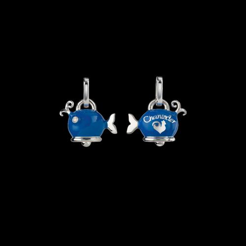 Ciondolo Campanelle Balena in argento e smalto blu - 38238