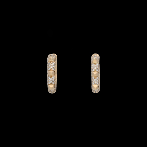 ORECCHINI PIRAMIDI MEDI IN ORO ROSA E DIAMANTI BIANCHI