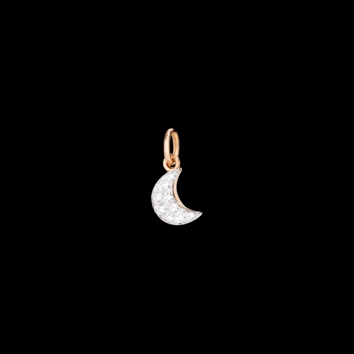 DODO FOLLOW YOUR DREAMS - LUNA - CIONDOLO LUNA IN ORO ROSA 9 KT E DIAMANTI BIANCHI - DMLU/OB/B