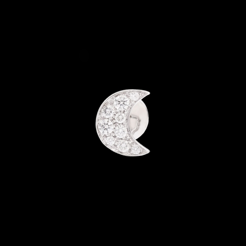DODO FOLLOW YOUR DREAMS - LUNA - ORECCHINO SINGOLO LUNA IN ORO BIANCO 18 KT E DIAMANTI - DOHLU/OB/B