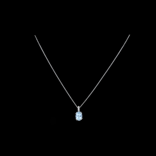 Collana oro bianco ciondolo acquamarina ovale diamanti bianchi