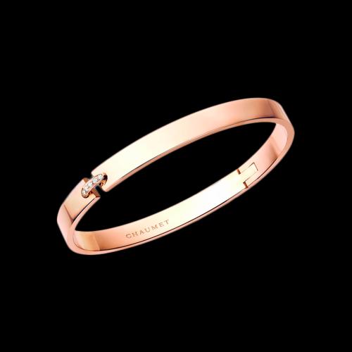 CHAUMET - Bracciale Chaumet Evidence rigido in oro rosa e diamanti bianchi - 083746
