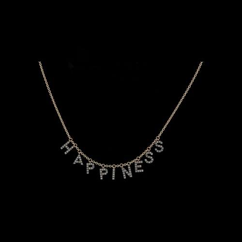COLLANA GIROCOLLO IN ORO ROSA CON LETTERE PENDENTI HAPPINESS E DIAMANTI BROWN