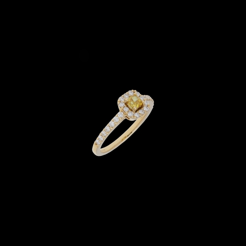 ANELLO IN ORO ROSA CON DIAMANTE BROWN E DIAMANTI BIANCHI