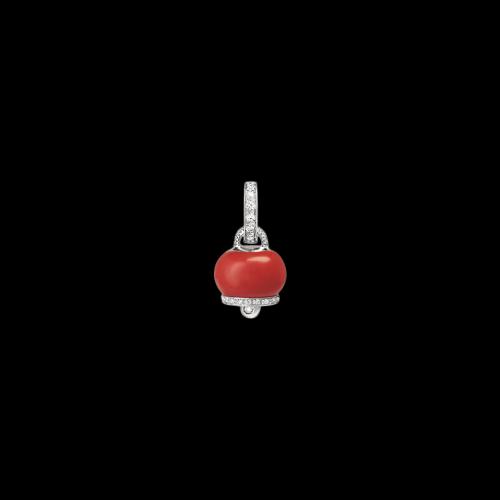 CIONDOLO CAMPANELLA MICRO IN ORO BIANCO, DIAMANTI E SMALTO - 30953