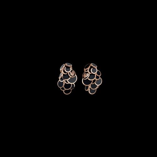 ORECCHINI PAILLETTES A CASCATA IN ORO ROSA DIAMANTI E SMALTO NERO - 38904