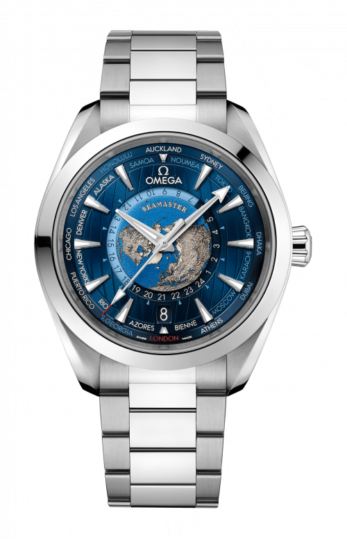 SEAMASTER AQUA TERRA 150M OMEGA CO-AXIAL MASTER CHRONOMETER GMT WORLDTIMER 43 MM - 220.10.43.22.03.001