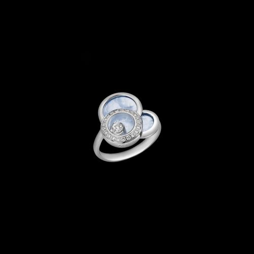 CHOPARD - HAPPY DREAMS - ANELLO, ORO BIANCO, DIAMANTI, ESTRATTI DI MADREPERLA BLU - 829769-1069