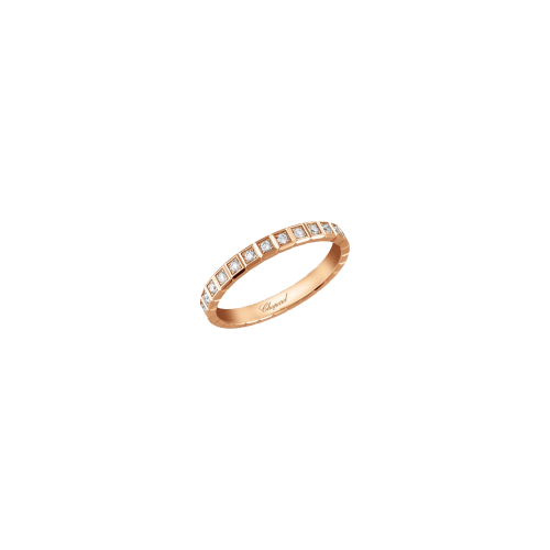 CHOPARD - ICE CUBE PURE - ANELLO IN ORO ROSA CON PAVÉ DI DIAMANTI A GIRO - 827702-5099