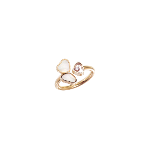 CHOPARD - HAPPY HEARTS WINGS - ANELLO IN ORO ROSA CON DIAMANTE E MADREPERLA - 82A083-5310