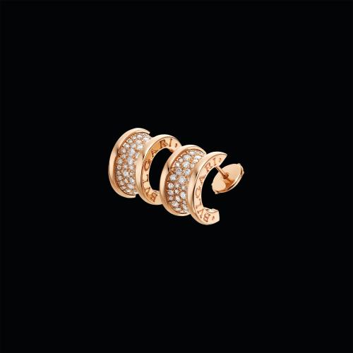 Orecchini B.zero1 in oro rosa 18 carati con pavé di diamanti - OR856238