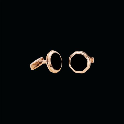 Gemelli Octo in oro rosa 18 carati con onice - GM856488