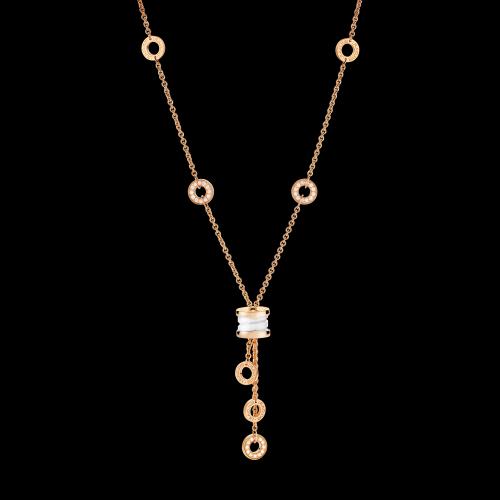 Collana B.zero1 in oro rosa 18 carati con ceramica bianca e pavé di diamanti. Lunghezza 39-44 cm - CL856019