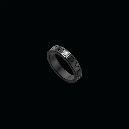 Anello BVLGARI BVLGARI in ceramica nera con diamante - AN857211