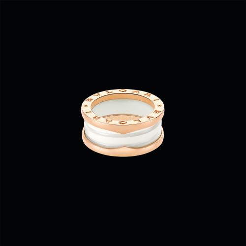 Anello B.zero1 in oro rosa 18 carati e ceramica bianca - AN855964