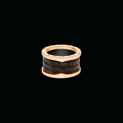 Anello B.zero1 a quattro fasce in oro rosa 18 carati e marmo marrone - AN856226