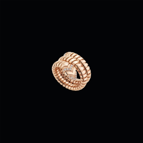 Anello Serpenti Tubogas in oro rosa 18 carati con pavé di diamanti - AN856571