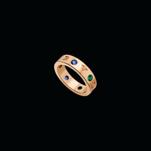Anello BVLGARI BVLGARI in oro rosa 18 carati con tsavorite e zaffiri blu - AN857671