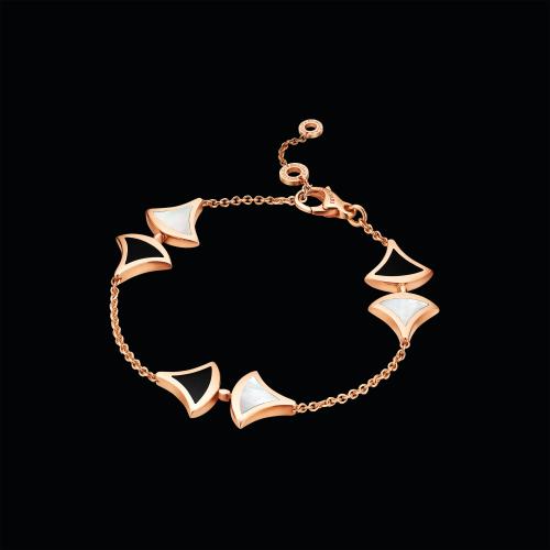 Bracciale DIVAS' DREAM in oro rosa 18 carati con madreperla e onice - BR856995